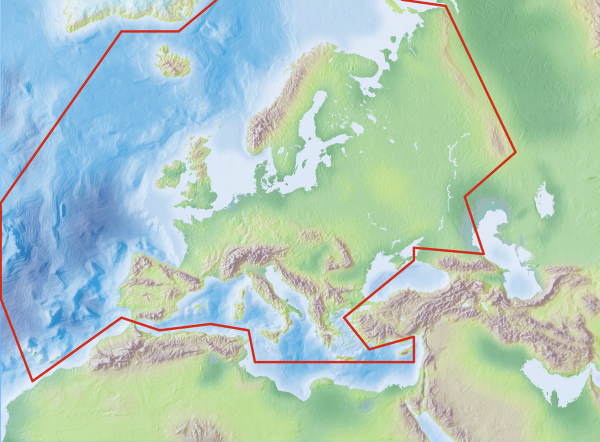 Shows European area on map.